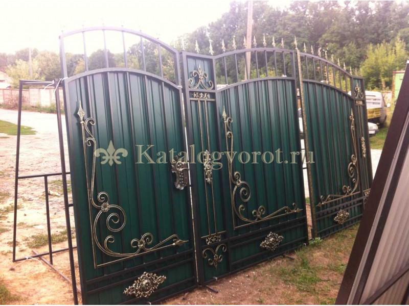 Кованые ворота с калиткой, артикул 1