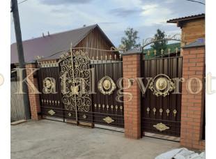 Кованые ворота с калиткой, артикул 35