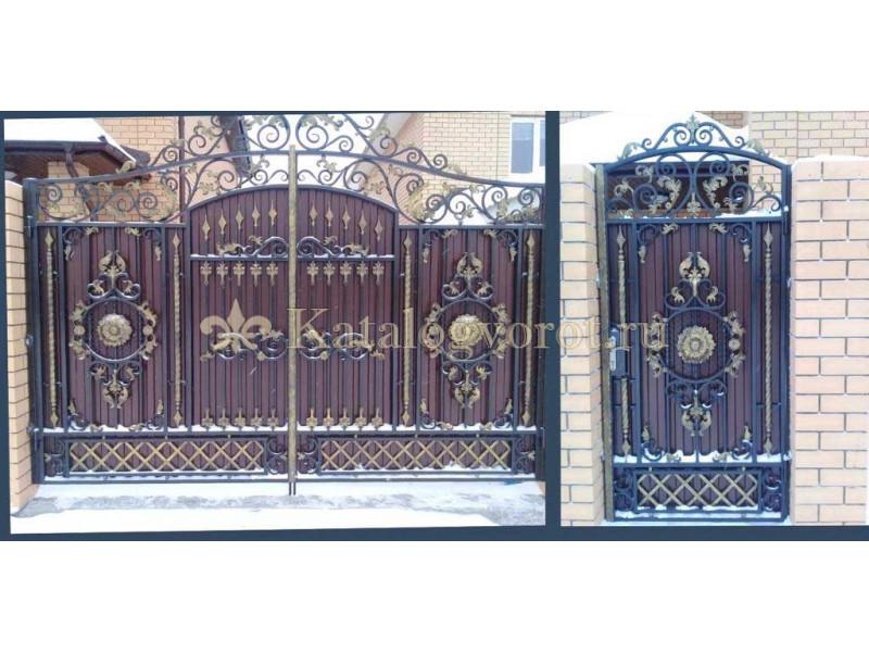 Кованые ворота с калиткой, артикул 5
