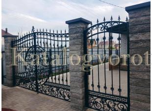 Кованые ворота с калиткой, артикул 7