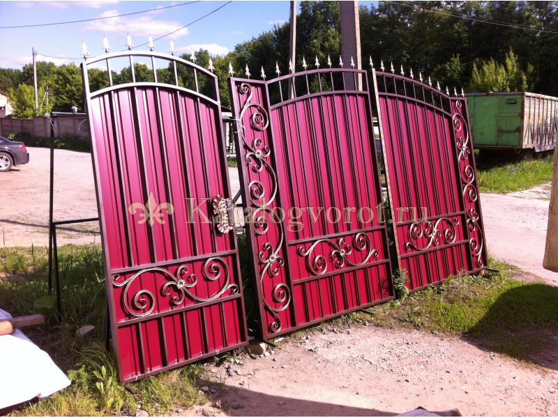 Кованые ворота с калиткой, артикул 9