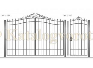 Кованые ворота с калиткой, артикул 15