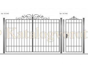 Кованые ворота с калиткой, артикул 18
