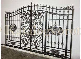 Кованые ворота со встроенной калиткой, артикул 35