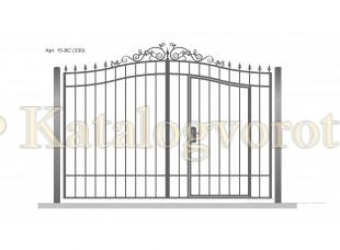 Кованые ворота со встроенной калиткой, артикул 15bc